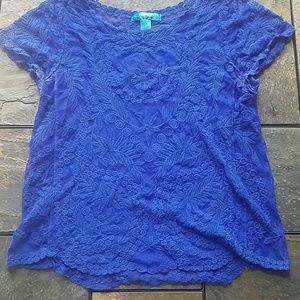 Royal Blue Sheer Lace Buttons Brand Tshirt Top L
